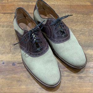 Johnson & Murphy Suede Lace Up Saddle Shoes 10 EUC